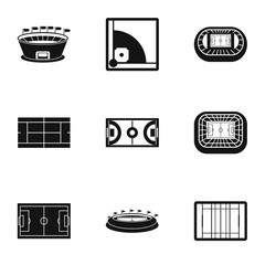 Sports complex icons set. Simple illustration of 9 sports complex vector icons for web