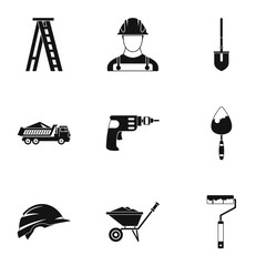 Construction icons set. Simple illustration of 9 construction vector icons for web