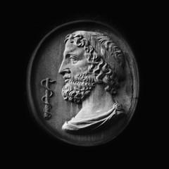 Aluminium Prints Historic monument Greek God Asclepius