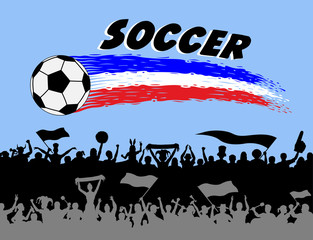Soccer ball and brush strokes with football supporters silhouettes