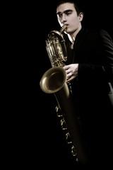 Poster Muziek Saxophone player Jazz musician. Saxophonist