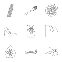 Tourism in Italy icons set. Outline illustration of 9 tourism in Italy vector icons for web