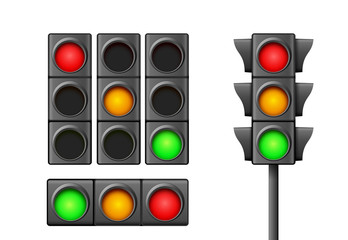 Street traffic light icon lamp. Traffic light direction regulate safety symbol. Transportation control warning Fotomurales