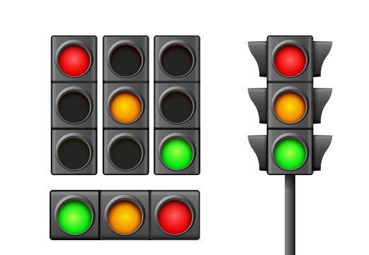 Street traffic light icon lamp. Traffic light direction regulate safety symbol. Transportation control warning