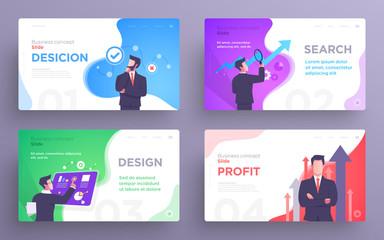 Presentation slide templates or hero banner images for websites, or apps. Business concept illustrations. Modern flat style Wall mural