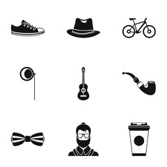 Hippie icons set. Simple illustration of 9 hippie vector icons for web