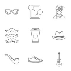 Trendy hipsters icons set. Outline illustration of 9 trendy hipsters vector icons for web