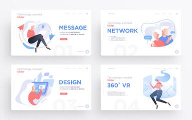 Presentation slide templates or hero banner images for websites, or apps. Communication technology concepts. Modern flat style. Vector