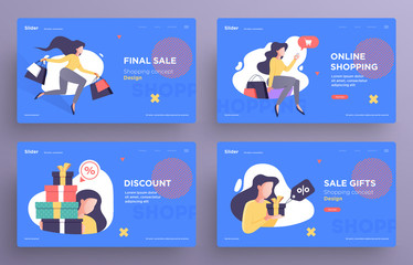 Presentation slide templates or hero banner images for websites, or apps. Shopping concept illustrations. Modern flat style