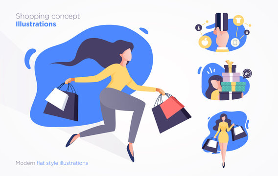 Set of shopping concept illustrations. Modern flat style