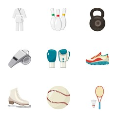 Sports stuff icons set. Cartoon illustration of 9 sports stuff vector icons for web