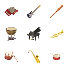Musical device icons set. Cartoon illustration of 9 musical device vector icons for web