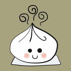 Chinese bun smile face cartoon vector illustration doodle style