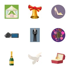 Wedding icons set. Cartoon illustration of 9 wedding vector icons for web