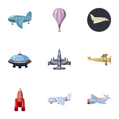 Aircraft icons set. Cartoon illustration of 9 aircraft vector icons for web