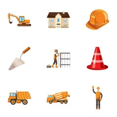 Repair tools icons set. Cartoon illustration of 9 repair tools vector icons for web