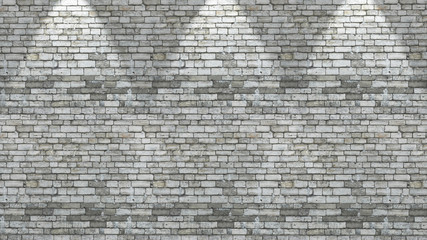 3D brick wall with three spotlights shining down