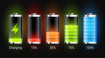 Battery charge design. Full charge energy for mobile phone. Accumulator indicator vector icon of power level