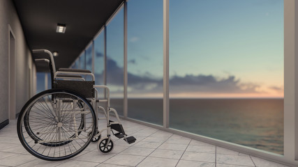 Empty Wheelchair Before Windows with Sea View
