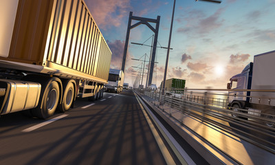 Multiple Trucks in Motion Across the Bridge