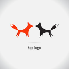 fox logo white and black. on white background. vector. Illustration. logo. symbol. abstract. Animals