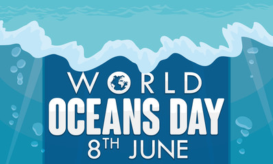 Underwater Ocean View with Greeting for World Oceans Day Celebration, Vector Illustration
