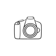 Camera hand drawn outline doodle icon. Digital photocamera with lens and flash vector sketch illustration for print, web, mobile and infographics isolated on white background.