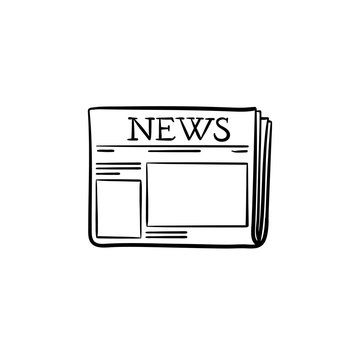 A fresh newspaper hand drawn outline doodle icon. Daily newspaper with hot news concept vector sketch illustration for print, web, mobile and infographics isolated on white background.