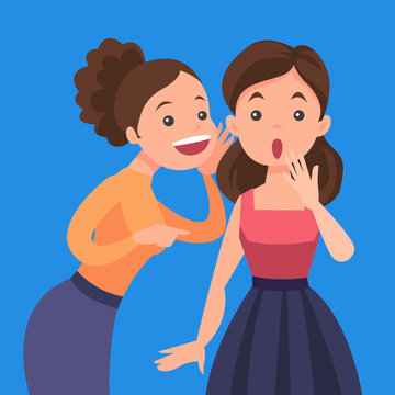 Young caucasian white woman shielding her mouth and whispering a gossip to her friend. Two female friends discussing gossips. Vector cartoon illustration isolated on solid background. Square layout.