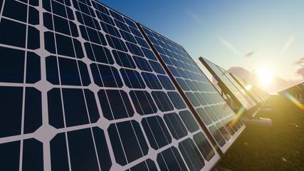 Sunrise over Solar Panel Field