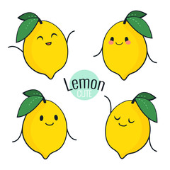Funny cartoon lemon character with different emotions on the face. Comic emoticon stickers set. Vector icons, isolated on white.