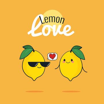 Lemon cartoon characters, Cute fruit couple, Vintage poster flat design with Vector illustration