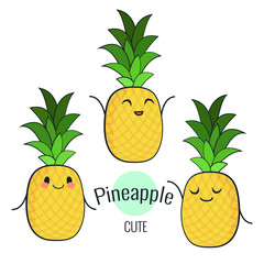Funny cartoon pineapple character with different emotions on the face. Comic emoticon stickers set. Vector icons, isolated on white.