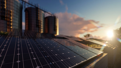Silos and Solar Panels with Selective Focus and Dramatic Reflections