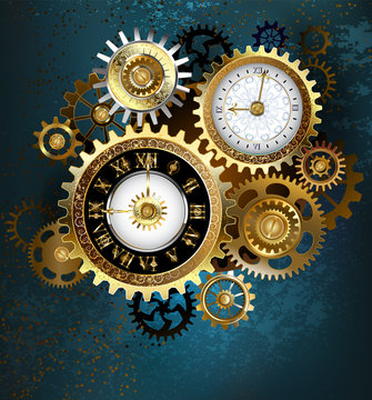 Two Steampunk Clocks with Gears