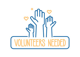 Volunteers needed banner design. Vector illustration for charity, volunteer work, community assistance. Crowd of people ready available to help and contribute with hands raised. Positive foundation