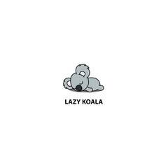 Lazy koala sleeping icon, logo design, vector illustration