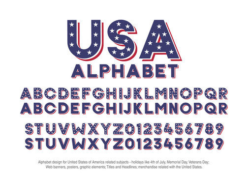 American alphabet with usa flag colors and star shapes. Vector font for united states of america related concepts - 4th july, veterans day, memorial day. Web banners, posters,  headlines, merchandise.