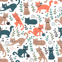 Colorful Seamless Pattern with Cats and Leaves.