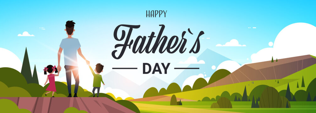 happy father day family holiday daughter and son hold dad hand stand back looking sunset concept greeting card flat vector illustration
