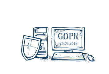 shield security and protection of personal data on computer General Data Protection Regulation GDPR concept hand drawing vector illustrator