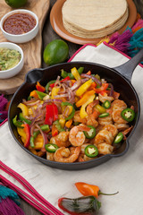 Shrimp Fajitas In Cast Iron Skillet