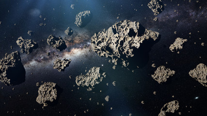 a group of asteroids in front of the Milky Way galaxy