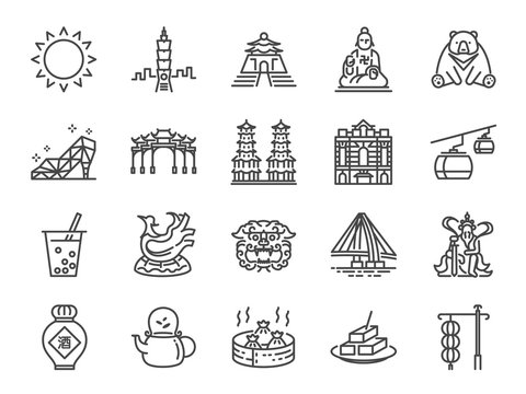 Taiwan icon set. Included the icons as Taipei, Chinese stone lion, bubble tea, Distilled Liquor, tea, stinky tofu, bear and more.
