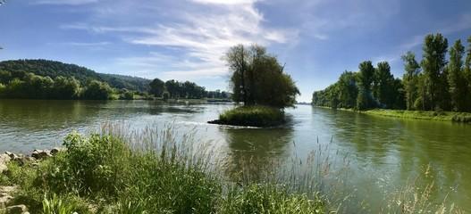 Isarmündung in die Donau bei Deggendorf (Niederbayern, Bayern)