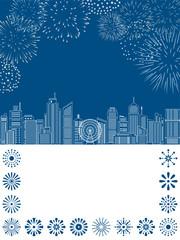 花火と線画のビル街の風景