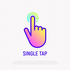 Single tap, finger touch thin line icon. Modern vector illustration.
