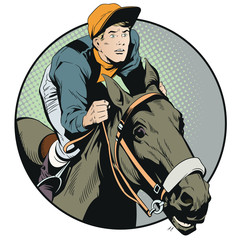 Rider on horse. Stock illustration.