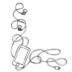 grunge smart phone with earphones, usb cable and plug