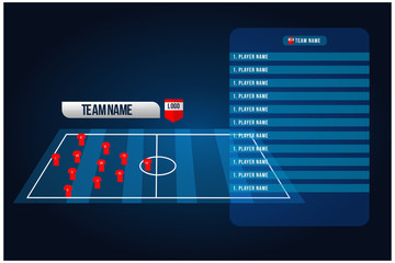 Soccer starting lineup squad. Football or soccer playing field with set of infographic. broadcast Graphics for soccer. vector illustration